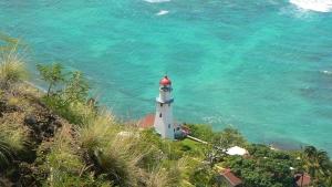 ダイヤモンドヘッド頂上から見た麓の灯台