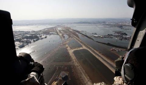 海に沈んだかのような仙台空港