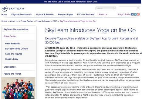 デルタ航空などが加盟するスカイチームは、機内で出来るヨガプログラムサービスを開始!