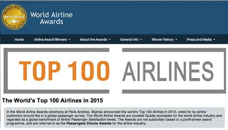 英国SKYTRAX社は「ベスト・エアライン」2015年のトップ100を発表!気になるANAとJALは?