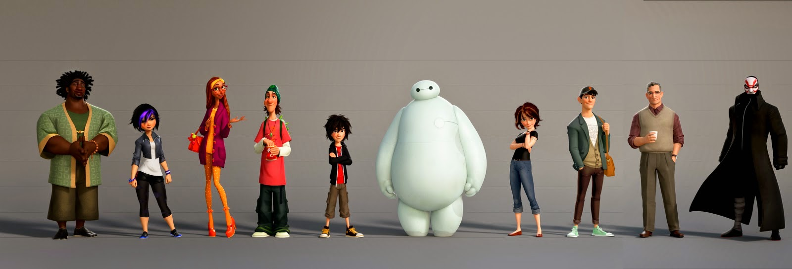 big-hero-6-character-lineup personajes characters walt disney hiro baymax brother hermano honey lemon wasabi fred gogo tia aunt villain