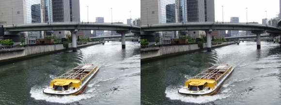 渡辺橋からの堂島川(交差法)