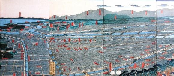 江戸後期の大坂の町の鳥瞰図