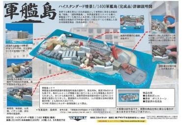【アオシマ・スカイネット】1/1400スケールハイスタンダード情景 軍艦島(端島) Gunkanjima (Battleship Island) Nagasaki Prefecture 「明治日本の産業革命遺産」世界文化遺産 国際記念物遺跡会議(イコモス)International Council on Monuments and Sites