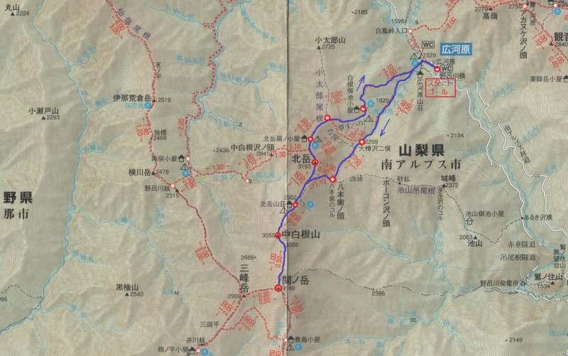 北岳・間ノ岳マップ