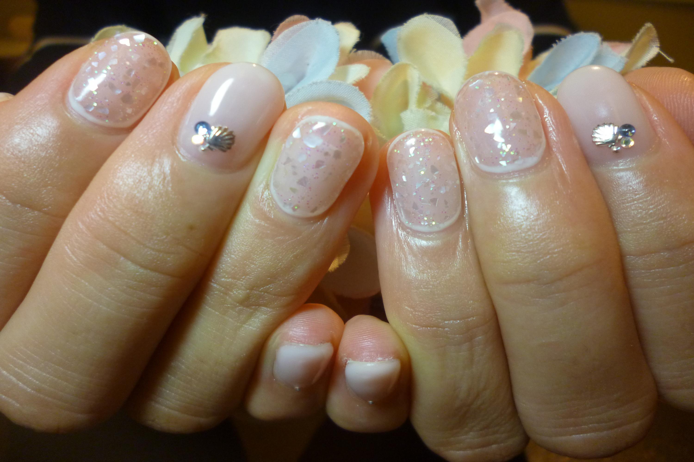 シースルークラッシュシェルネイル 貝殻ネイル