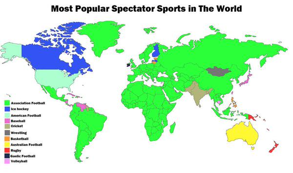Most popular spectator sport by country
