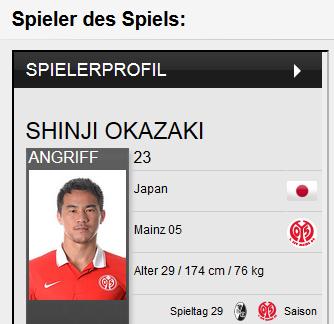 okazaki_Spieler des_Spiels_Freiburg_2_3