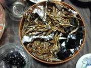 ゴマメ揚げ物三種とニシンの昆布巻き