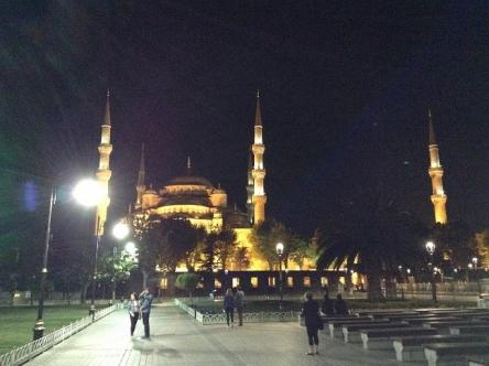 幻想的な美しさの夜のブルーモスク