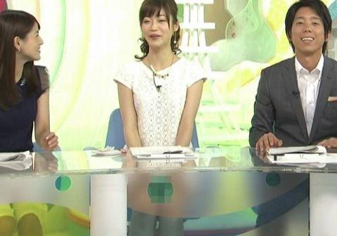 【エロ画像】牧野結美アナ めざましTVでパンチラ!!気付かずにそのまま放送される!!