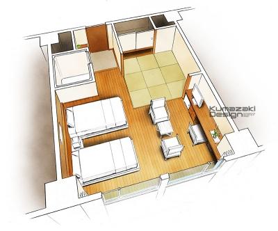 ホテル客室 旅館客室 プレゼン イメージパース 内観パース インナーパース 俯瞰パース 完成予想図 手書きパース 手描きパース フォトショップ着色 photpshop