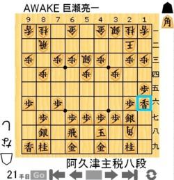 ①阿久津主税八段 vs AWAKE巨瀬亮一250