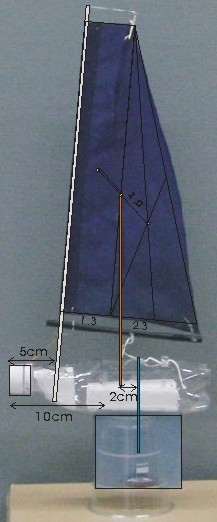 PET bottle model sailboat PO13 on Cup shipstand