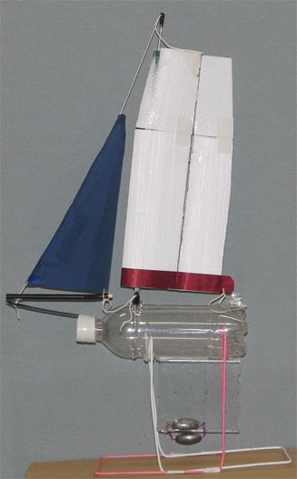PET bottle Model sailboat with a wing sail cut out polystyrene foam