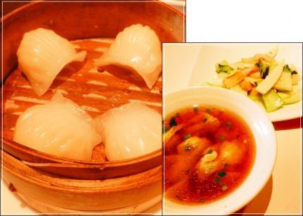 海老蒸し餃子&ワンタンsoup&筍、青梗菜炒め