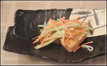 揚げ豆腐の胡麻ソース和え