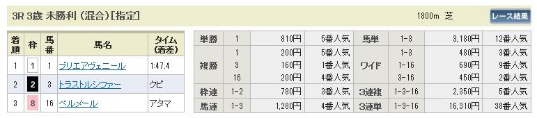 【払戻金】0531東京3(日刊コンピ 馬券生活 的中 万馬券 三連単 札幌競馬)
