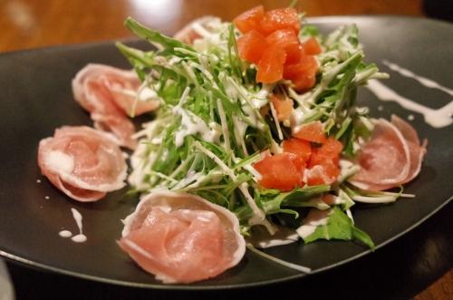 水菜と生ハムのサラダ