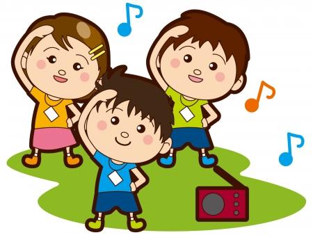 ラジオ体操をする子供たち