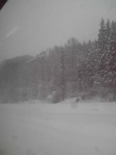 車外は吹雪いています
