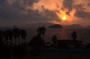 宿から見た夕日