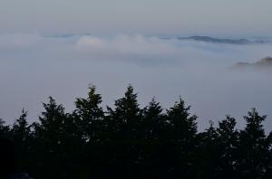 霧に隠れた備中松山城
