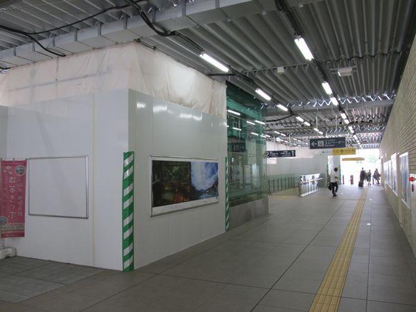 本設駅舎内の現状。内装がほとんど無く、骨組みがむき出しとなっている。