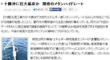 news十勝沖に巨大鉱床か 期待のメタンハイドレート