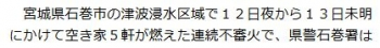news石巻5軒連続不審火 1件の放火容疑で39歳男を逮捕