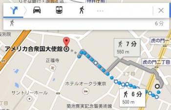 map東京都港区虎ノ門1-22-14車で十数分