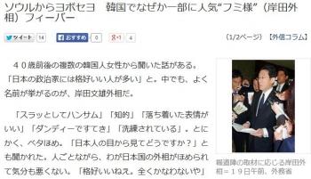 """newsソウルからヨボセヨ 韓国でなぜか一部に人気""""フミ様""""(岸田外相)フィーバー"""