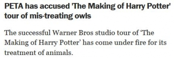 newsPETA has accused The Making of Harry Potter tour of mis-treating owls