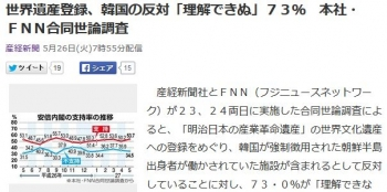 news世界遺産登録、韓国の反対「理解できぬ」73% 本社・FNN合同世論調査