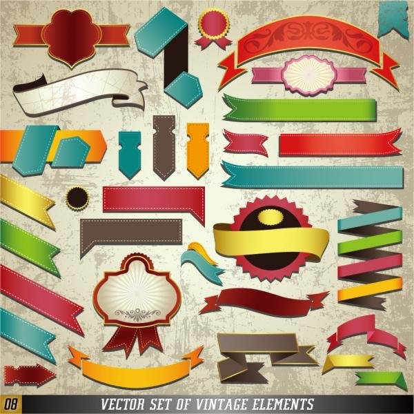 クラッシックなリボン飾りのステッカー classic label stickers