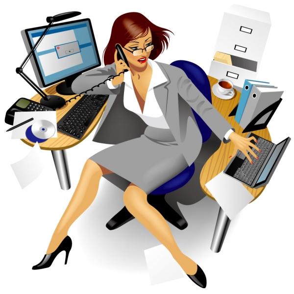 精力的に仕事をこなす女性 girl and computer