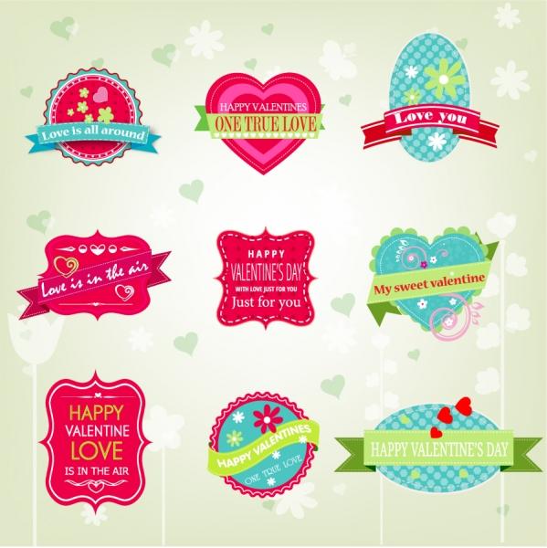 バレンタインデーのラベル デザイン valentine card label badge