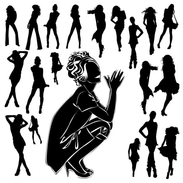 ポーズを取る美しい女性のシルエット beautiful fashion female silhouette
