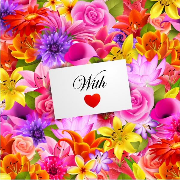 花束に置いたハートのカード Valentine's Day flowers