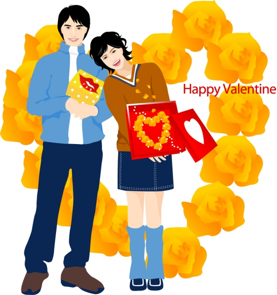 バレンタインデーを楽しむカップル Heart valentines day romantic couple
