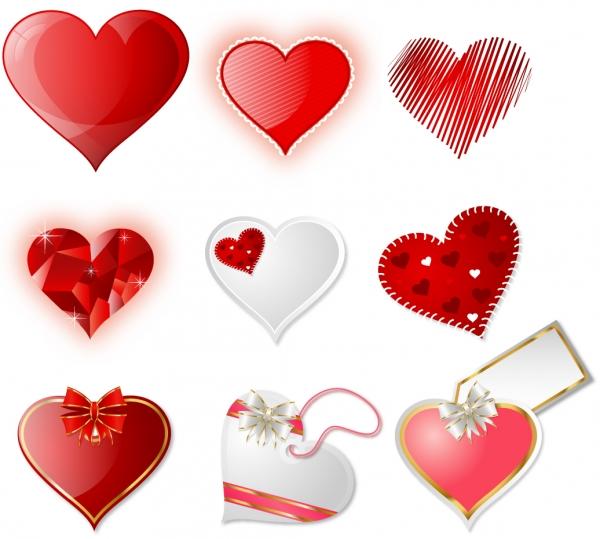 光沢あるバレンタインデーのハート飾り Heart crystal valentine heart vector