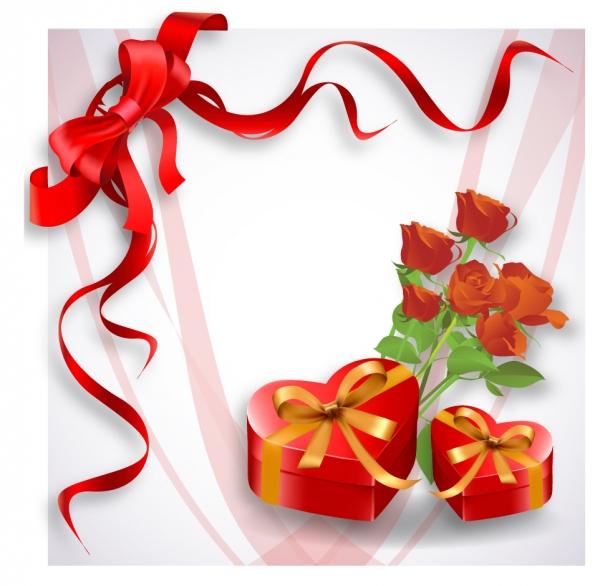 赤いリボン飾りがお洒落なハート型のギフト箱 red heart-shaped gift box and rose