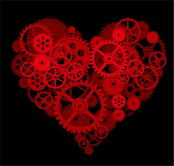 精密な歯車でハートに型どった背景 gear composed of heart
