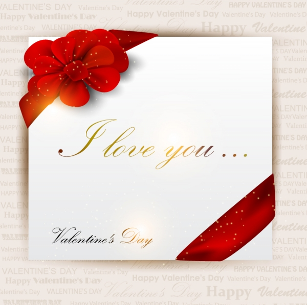 赤いリボン飾りのバレンタインデー カード exquisite valentines day greeting card