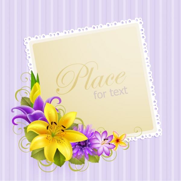 花のコーナー飾りの招待状テンプレート flower greeting cards