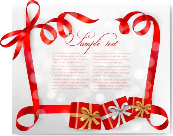 ギフトラッピングの赤いリボン飾り gift boxes bows cards