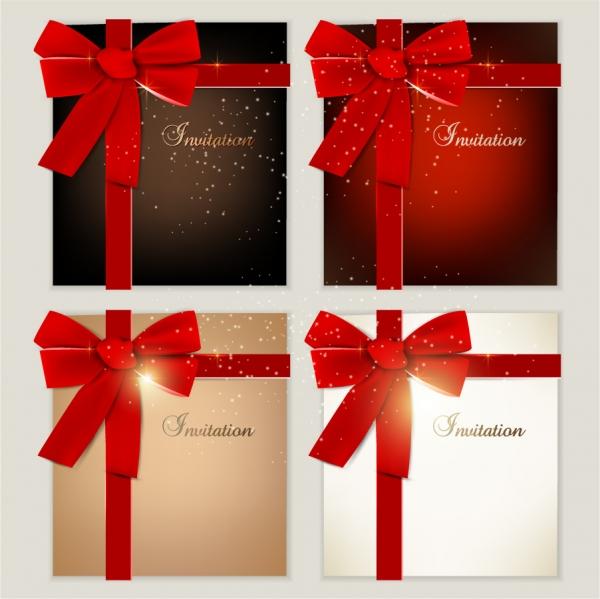 赤いリボンの招待状テンプレート red ribbon invitation card template