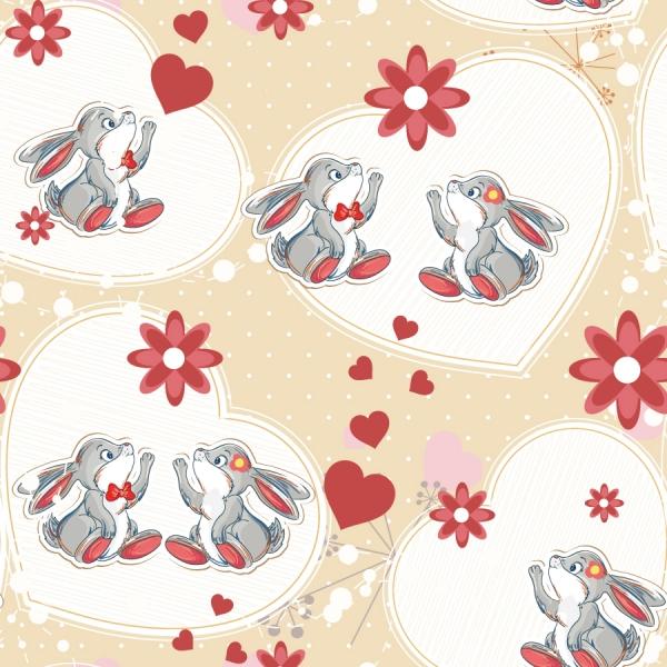 ウサギとハートの背景 rabbit red heart background