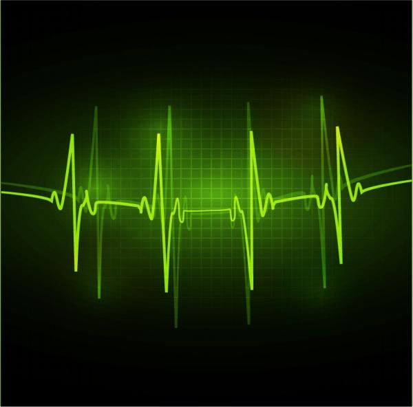 オシロスコープの波形画面 pulse rhythm screen stethoscope