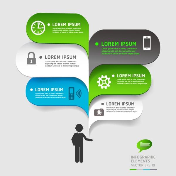 インフォグラフィック用の吹出しデザイン business bubble speech template style